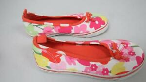 GYMBOREE Tea Time Afternoon Orange w/ Multi Colored Flower Shoes Size 11 GUC