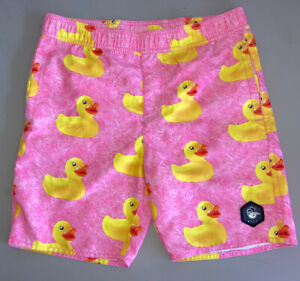 Neff Rubber Ducky Hot Tub Duck Pink Swim Trunk Board Shorts Youth Size M