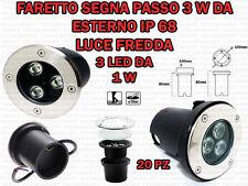 20 FARETTI INCASSO LED 3W ESTERNO/INTERNO SEGNA PASSO CALPESTABILE IP68 GIARDINO