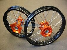 KTM SX 65 KTM65 Black Rim CNC Hub 14/12 WHEELS SET I ORANGE 2001-2015 M RMT01