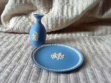 "Lot (2) Wedgwood Blue Jasperware Pieces Bud Vase 6.625"" Plate"