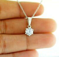 1Ct Diamond Pendant Round Cut Solitaire Diamond Necklace 14k White Gold Over
