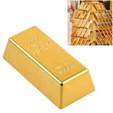 Fake Gold Bar Paperweight Desk Office Table Plate Bullion Door Stop Decoration E