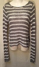 Hollister Top Open Knit Sweater Gray & White Stripe Long Sleeve W Side Slits SzM