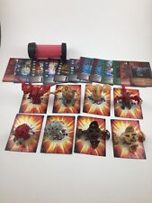Lot 8 Bakugan Figures w Cards Carrying Case Helix Dragonoid Cyclone Percival