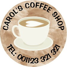 24 PERSONALISED GLOSS COFFEE SHOP CAFE STICKERS, ANY TEXT, ADVERTISE YOUR BRAND