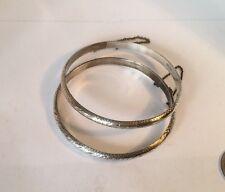 Two Vintage Sterling Silver Bangle Bracelets Hand Wrought Design