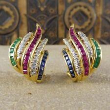 Sapphire,Emerald,Ruby & Diamond 14k Yellow Gold Over Earrings Set