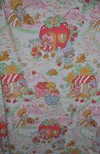 -STRAWBERRY SHORTCAKE vintage FLAT BED SHEET 1980s fabric SSC-