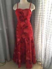 NEW RED SPAGHETTI STRAP HAWAIIAN MUUMUU HULA DRESS SIZE 5-6 LEHUA BLOSSOM PRINT