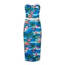 BNWT COLLECTIF  MONICA FLAMINGO PENCIL DRESS ROCKABILLY 50s PINUP PSYCHOBILLY