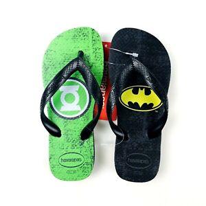 Havaianas Kids Black Green DC Comics Batman Green Lantern Flip Flop Sandal Sz 2Y