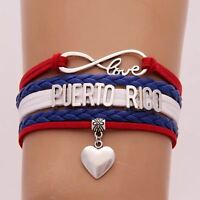 12pcs Handmade Genuine Leather Color PUERTO RICO LOVE Alloy Pendant Bracelets