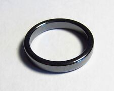 Smooth Flat Magnetic Hematite Ring Bands Unisex GUNMETAL GRAY  Chakra SZ 5