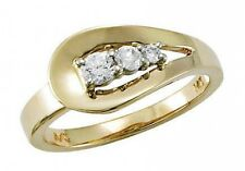 1/4 ct F VS natural round diamond journey fashion cocktail ring 14k yellow gold