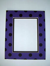 Picture Framing Mat 8x10 for 5x7 photo Polka Dots in Purple Violet and Black