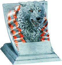 """Wolf, 4"""" tall Resin School Mascot Trophy, Free Engraving"""