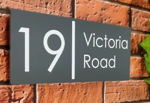 House Sign Plaque Personalised w/ Street Name Number Contemporary Acrylic Large