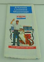 Exxon Arkansas Louisiana Mississippi Travel Map Vintage 1980's