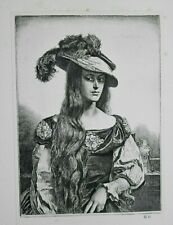 TRESSES, WOMAN IN FEATHER HAT By GERALD BROCKHURST Old 1928 Print of an Etching