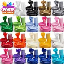 Solid Colour Plastic Party Tableware Birthday Wedding Event Catering
