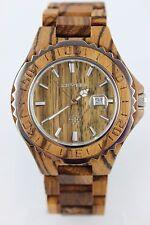 BEWELL Horloge en bois Montre Hommes DATE xl46mm zebranoholz Fermoir papillon Go