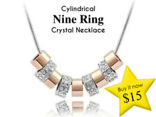 Cylindrical Nine Ring Crystal Necklace
