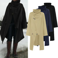UK Women High Neck Warm Cloak Long Coat Ladies Jacket Outerwear Poncho Plus Size