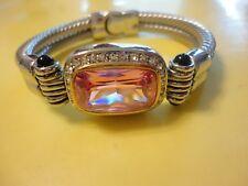 Vtg Style Bracelet Huge Pink Glass Rhinestone Magnetic Clasp One Of A Kine #2050