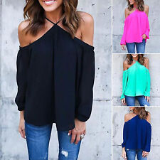 Damen Cold Shoulder Bluse Neckholder Langarmshirt Tunika Chiffon Party Celeb Top