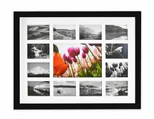 Wall Photo Frame Collection, 12x16 Photo Wood Frame with White Mat, Black