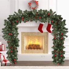 9FT/2.7M Christmas Garland Decorations tree Plain Green Pine fireplace pre lit