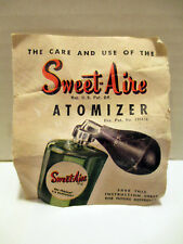 Rare VTG Sweet-Aire Atomizer Instruction Sheet Miller Protecto Products Co. USA