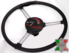 FOR LAND ROVER SERIES 1 48-58  BLACK  LEATHER STEERING WHEEL COVER WITH BLACK ST