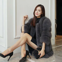 NEW Winter Real Whole Skin Fox Fur Coat Half Sleeve Thick Outwear Jacket Lady
