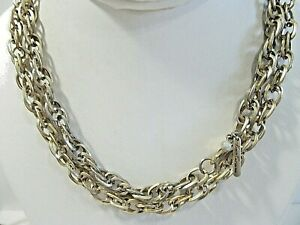 LONG DARKENED GOLD TONE CHAIN LINK NECKLACE VINTAGE DESIGNER KENNETH COLE NY