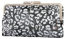 NWT LODIS VALLEY BLVD LEATHER FRAME CLUTCH BIFOLD WALLET BLACK & SILVER
