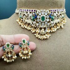 Bollywood Indian Green Pearl Choker Necklace Earrings Traditional CZ Jewelry Set