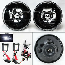 "5.75"" 5 3/4 Round 6K HID Xenon H4 Black Chrome Glass Headlight Conversion Mercur"