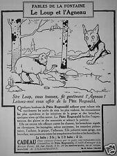 PUBLICITÉ 1924 PÂTE REGNAULD FABLES DE LA FONTAINE LE LOUP ET L'AGNEAU