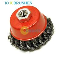 "Twist Knot Wire Wheel Cup Brush 4"" M14 for 4 1/2"" 115mm Angle Grinder 10 Pack"