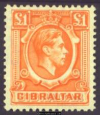 1938 Gibraltar £1 Orange, SG 131, MH