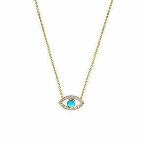 14K Gold Genuine Diamond And Turquoise Gemstone Evil Eye Charm Pendant Necklace