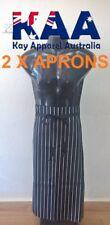 2 X Butchers Apron Waist Black White Vertical Pinstripe 80x85cm KINGAROY QLD