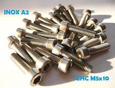 VIS CHC BTR INOX A2 M5 x 10 mm 6 PANS CREUX DIN912 (lot de 30 vis)
