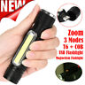 8000LM Portable Zoom XML-T6 COB LED Tactical USB Rechargeable Flashlight Torch