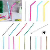 Drinking Straw Reusable Straight/Bend/Folding Stainless Steel/Bamboo/Silicone UK
