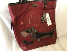NEW CHALA BURGUNDY DACHSHUND WIENER DOG EVERYDAY TOTE PURSE HANDBAG FAUX LEATHER