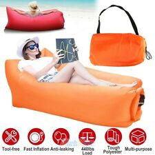 Orange Inflatable Camping Sofa Banana Bag Air Lounge Blow up Couch Lazy Chair US