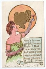 Pretty Lady Toasts Turkey Vintage Thanksgiving Postcard 1907 Rose Co Embossed